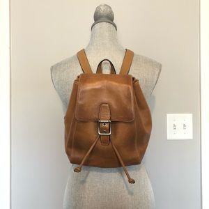 Vintage Leather Coach Drawstring Brown Backpack